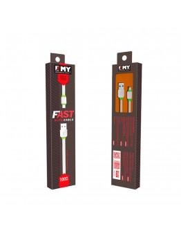 Кабел за данни, EMY MY-445, Micro USB, 1.0м, Бял - 14449