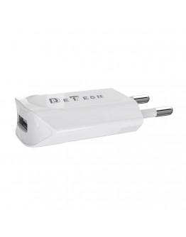 Мрежово зарядно устройство, DeTech, DE-11i, 5V/1A, 220V,1 x USB, С Lightning кабел, 1.0m, Бял - 14116