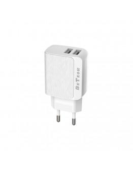 Мрежово зарядно устройство DeTech, DE-09, 5V/2.4A 220V, 2 x USB, Бял - 14139