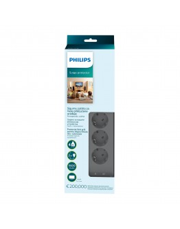 Philips Surge protector, 4 outlets, 10 A, 3 lines